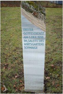 Gedenkstein 1. Gottesdienst in Ottobrunn