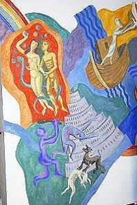 Sündenfall-Bild in der Kapelle von St. Albertus Magnus