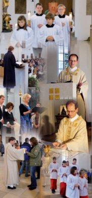 Collage: Szenen aus der Feier der hl. Messe