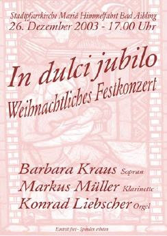 Plakat Weihnachtskonzert 2003