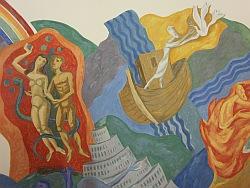 Wandmalerei Adam und Eva sowie Noah in der Kapelle von St. Albertus Magnus