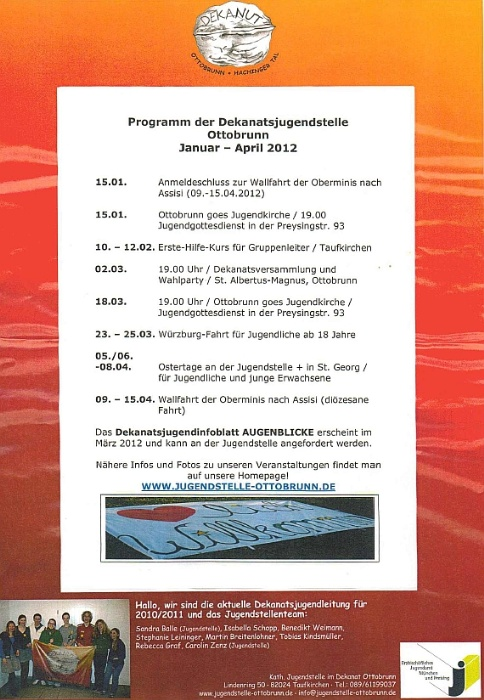 Programm Januar-April 2012 der Dekanatsjugend