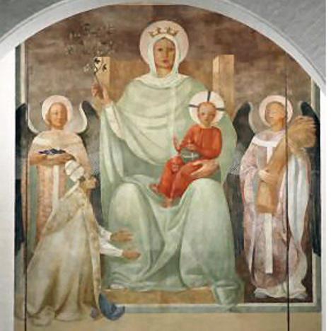 Das Fresko im Chor von Königin des Friedens mit der Mutter Gottes, dem Jesuskind, zwei Engeln und Papst Benedikt XV.