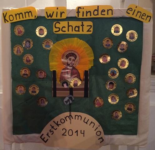 Plakat mit Motto Erstkommunion Langenpreising