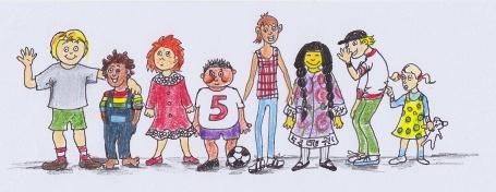 gezeichnete Kinder aus unterschiedlichen Kulturen