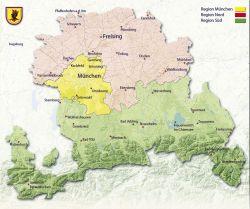Bistumskarte mit drei Seelsorgsregionen
