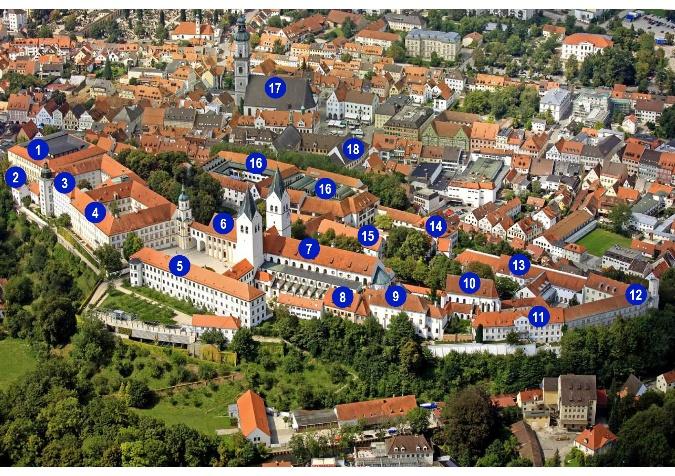 Luftaufnahme Domberg mit Ziffern für Legende
