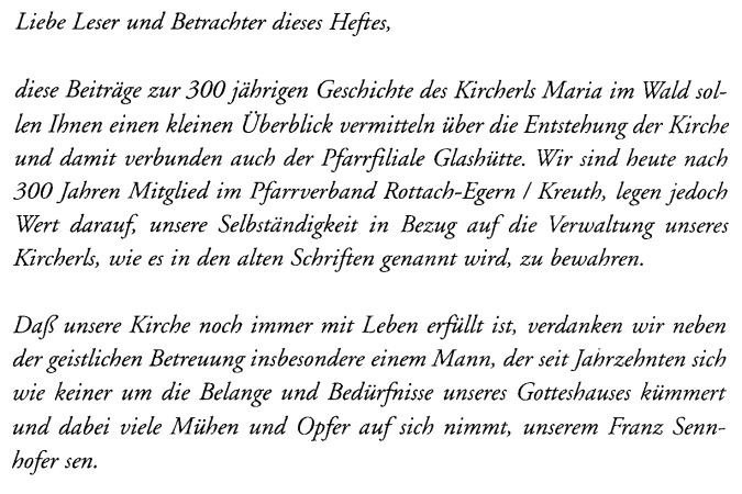 Festschrift 300 Jahre Galshütte Vorwort A