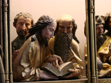 Apostel lesenn die Hl. Schrift. <br/>Museum in Colmar<br/>Foto: A. Sterr