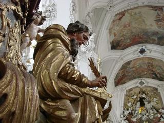 Evangelist Lukaa, Kanzel im Kloster Neuzelle an der Neisse