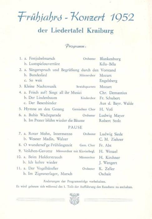 Programm 1952