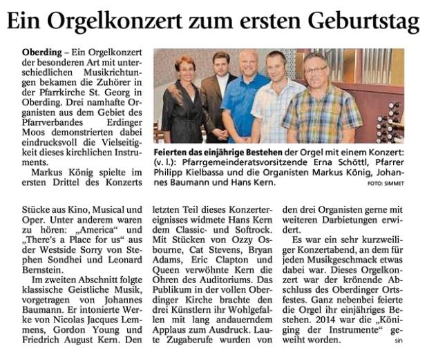Presseartikel Erdinger Anzeiger vom 08.07.2015