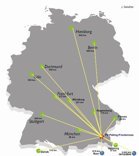Karte Deutschland m. Entfernungen Luftlinie