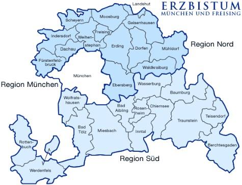Karte Erzbistum München und Freising