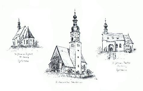 Übersicht Kirchen Pfarrei Freutsmoos v. Elisabeth Reinmiedl