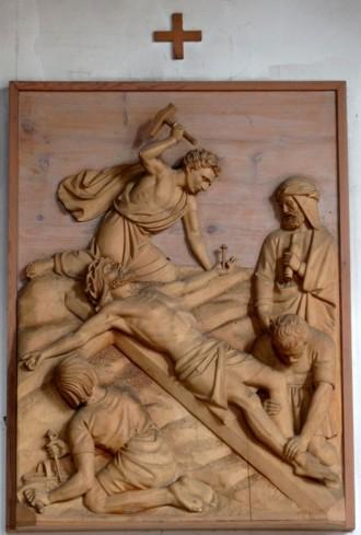 11. Station - Jesus wird an das Kreuz genagelt Pfarrkirche Palling