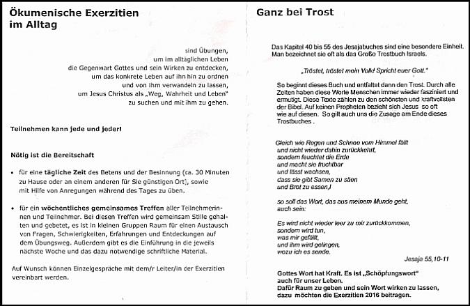 Folder Seite 1 für Exerzitien im Alltag 2016