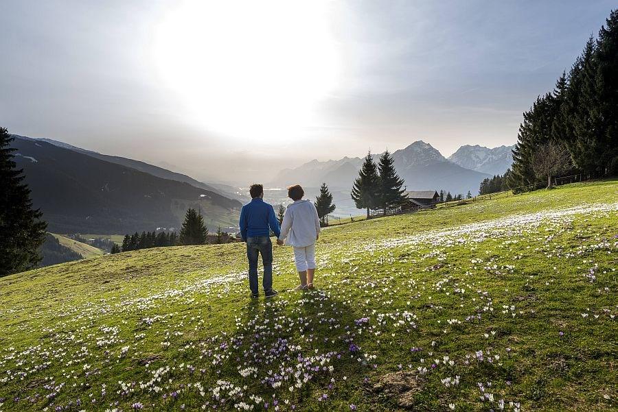 Frau und Mann auf Bergwiese halten sich an den Händen und blicken ins Tal
