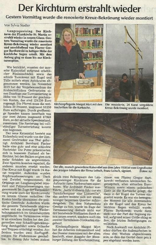 Renovierung Kirchturm Langenpreising