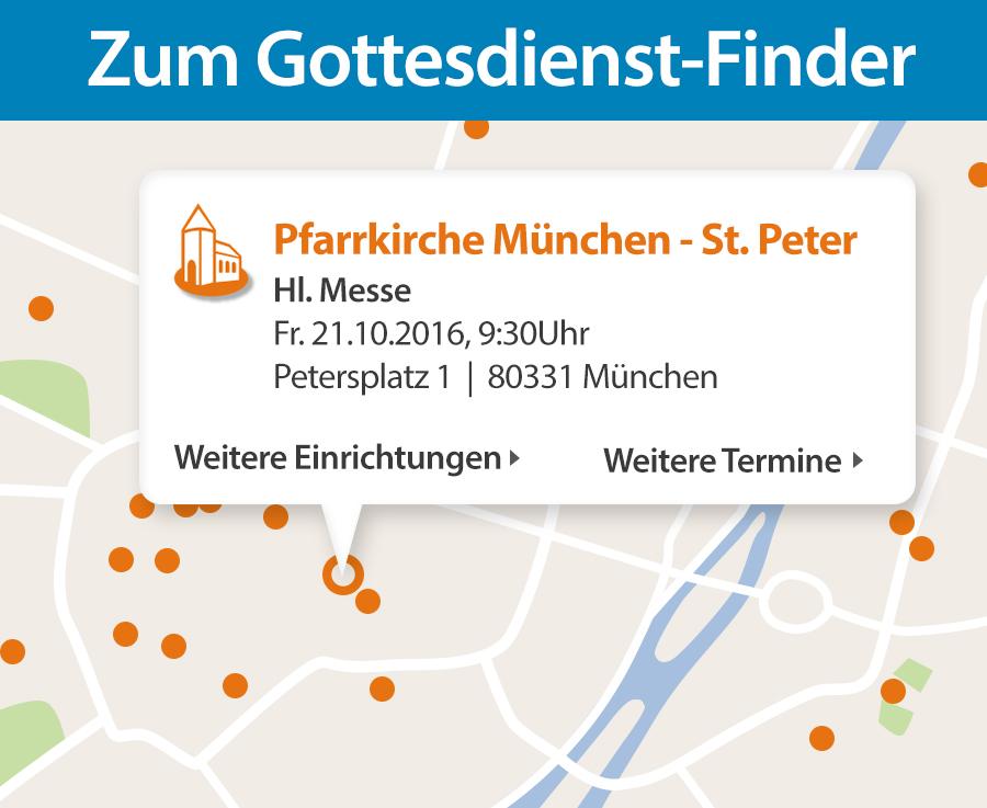 Gottesdienste in einer Landkarte finden