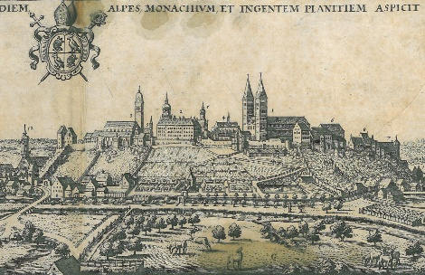 Der Domberg von Süden. Kupferstich von Matthäus Merian, 1644