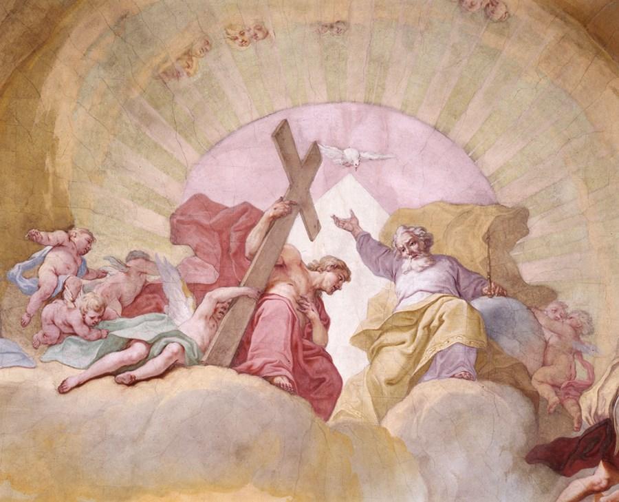 Altomünster, St. Alto, hl. Dreifaltigkeit, Kuppelfresko von Joseph Magges, 1767