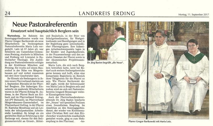Einführung Fr. Lutz Pfarrverband Wartenberg