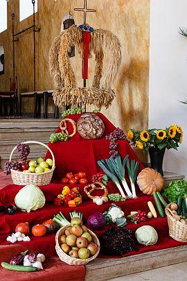 Gemüse, Obst, Blumen und eine Erntekrone sind auf roten Tüchtern in einer Kirche aufgestellt.