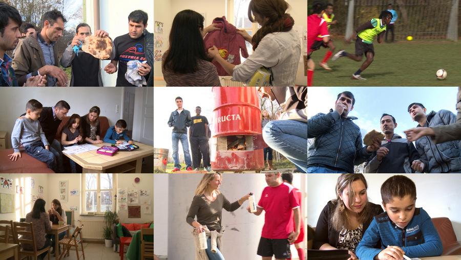 Collage aus Bildern mit Flüchtlingen und Helfern