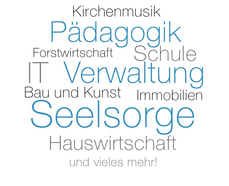 Kirchenmusik, Pädagogik, Forstwirtschaft, Schule, IT, Verwaltung, Bau und Kunst, Immobilien, Seelsorge, Hauswirtschaft