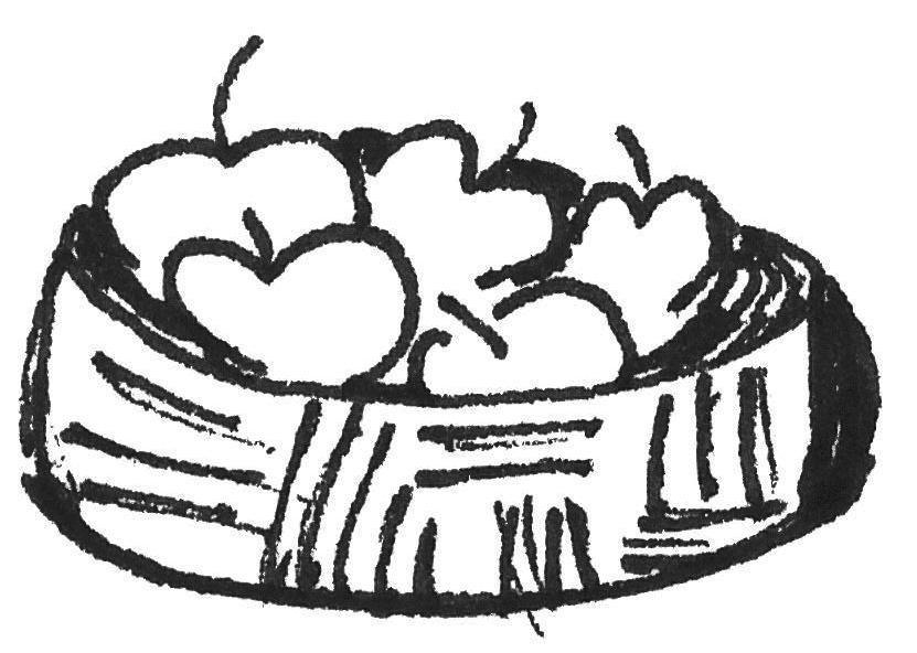 Korb mit Äpfeln Kinderzeichnung