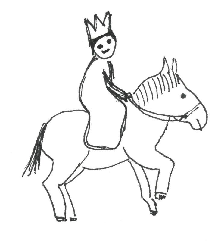 König auf Pferd Kinderzeichnung