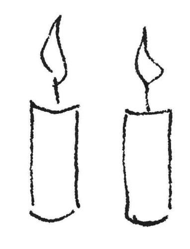 Zwei Kerzen Kinderzeichnung