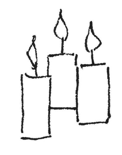 Drei Kerzen Kinderzeichnung