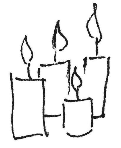 Vier Kerzen Kinderzeichnung