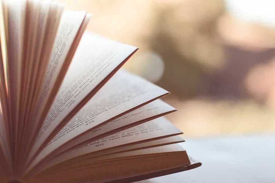 Seiten eines aufgeschlagenen Buches in Nahaufnahme