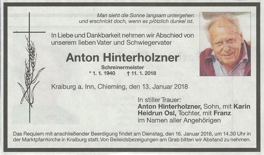 Todesanzeige Hinterholzner