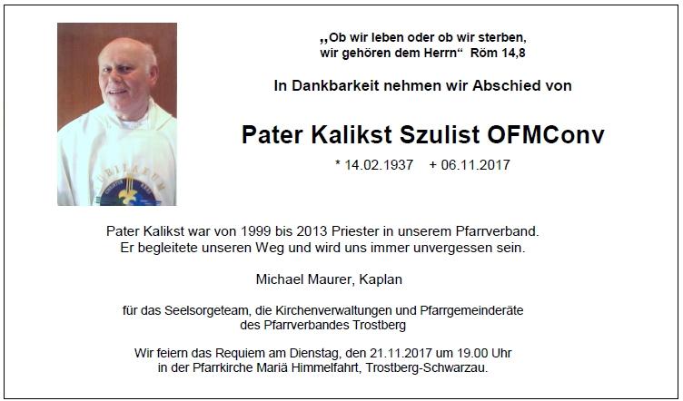 Nachruf Pater Kalkst