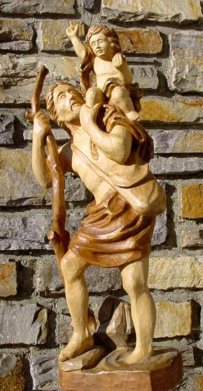 Figur des Christophorus mit Jesuskind auf der Schulter