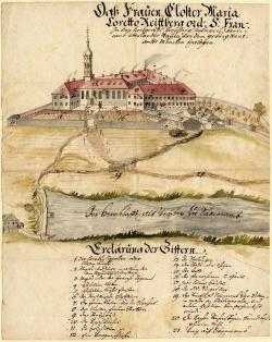 Klosteransicht von Südosten, kolorierte Federzeichnung, um 1750<br/>Papier, 40 x 32 cm; München, Archiv des Erzbistums München und Freising, Plansammlung 20 092