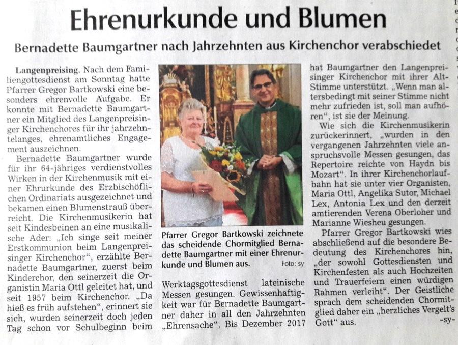 Verabschiedung Bernadette Baumgartner