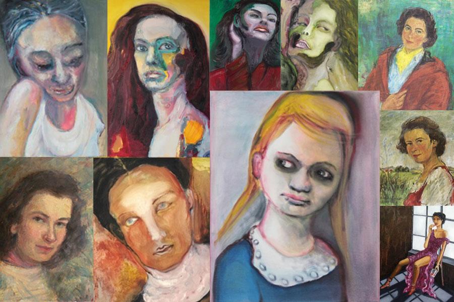 Collage Ausstellung FrauenKöpfe 2018