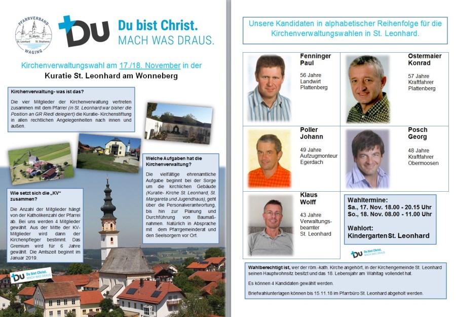 Kandidaten zur Kirchenverwaltungswahl in St. Leonhard am Wonneberg