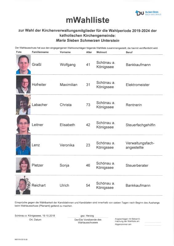 Wahlliste mit Bild