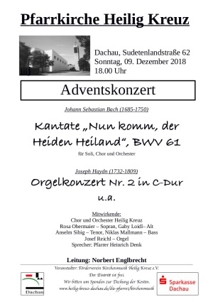 Adventskonzert am 9.12.2018 in Heilig Kreuz, Dachau