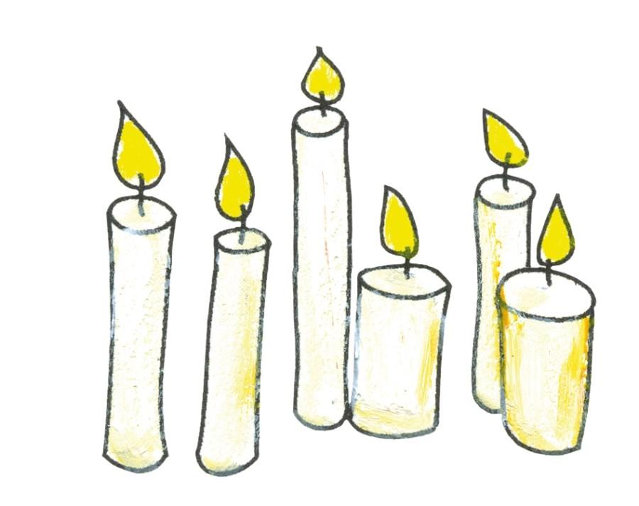 Illustration weiße Kerzen