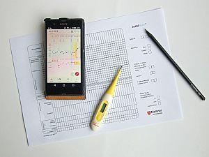 Tabelle mit Thermometer, Handy und Bleistift