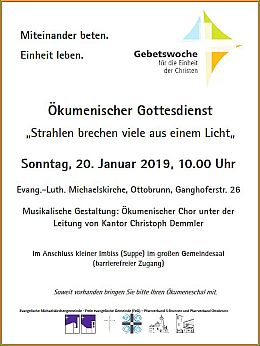 Plakat zum Ökumenischen Gottesdienst am 20.01.2019