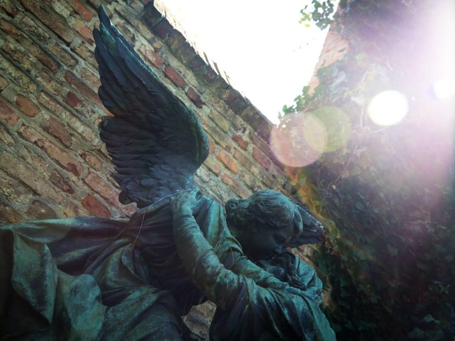 zugewandte große Engelsfiguren auf Friedhof