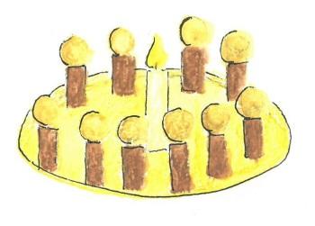 Illustration Kerze steht im Lichterkreis